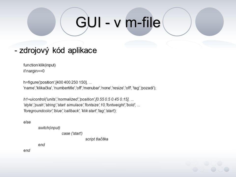 GUI - v m-file - zdrojový kód aplikace function klik(input)