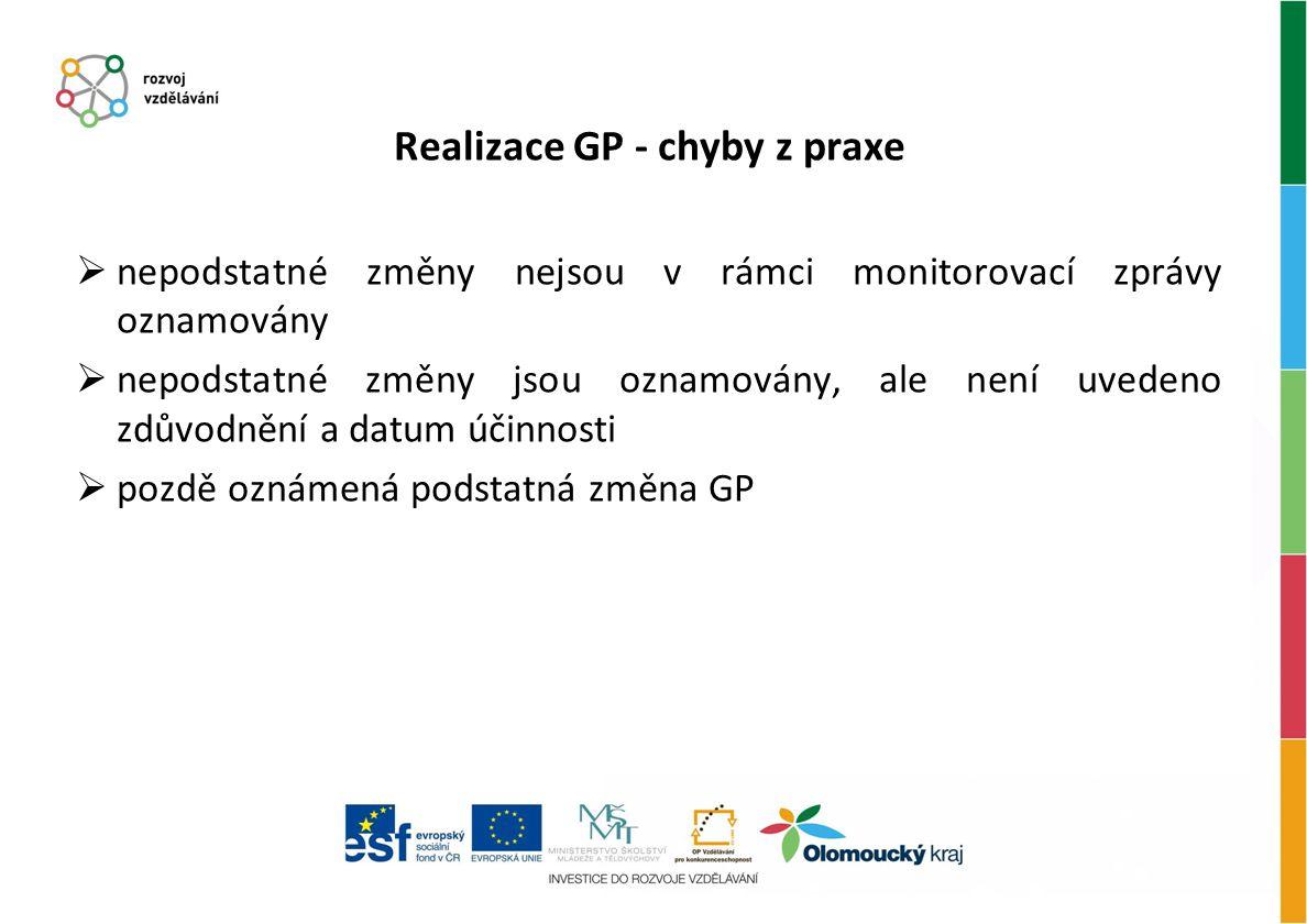 Realizace GP - chyby z praxe