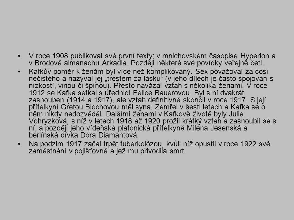 V roce 1908 publikoval své první texty; v mnichovském časopise Hyperion a v Brodově almanachu Arkadia. Později některé své povídky veřejně četl.