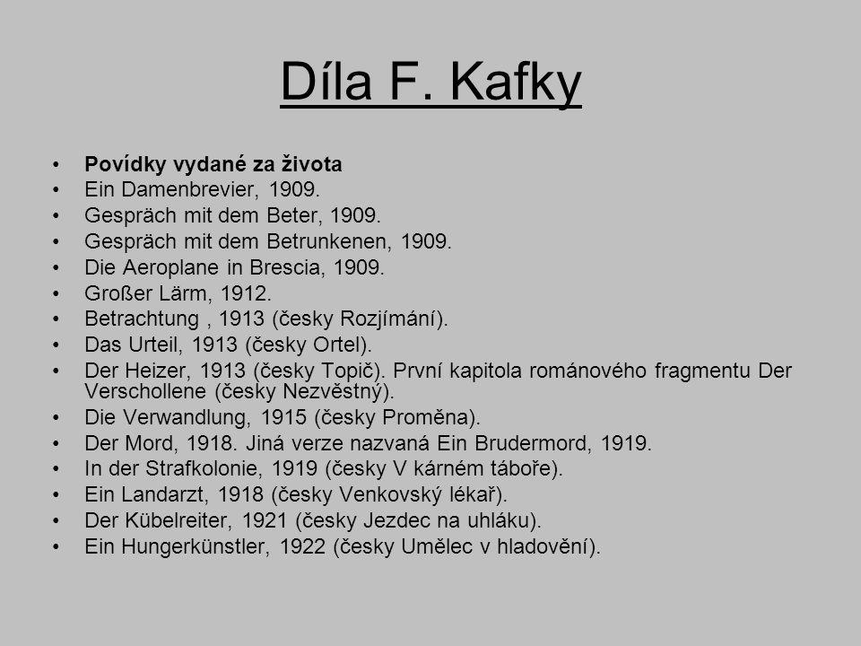 Díla F. Kafky Povídky vydané za života Ein Damenbrevier, 1909.