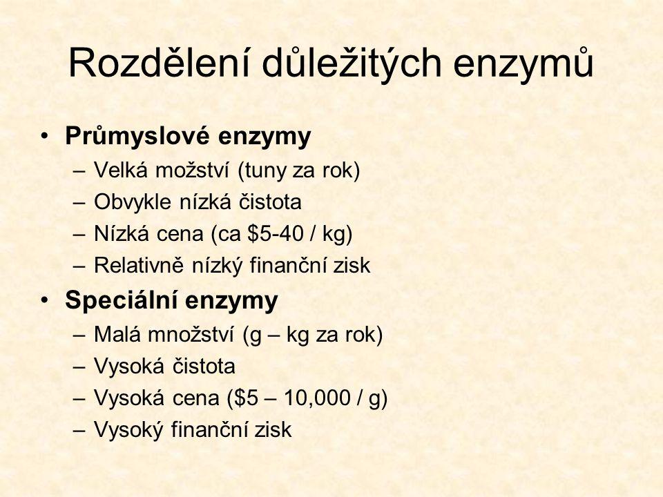 Rozdělení důležitých enzymů