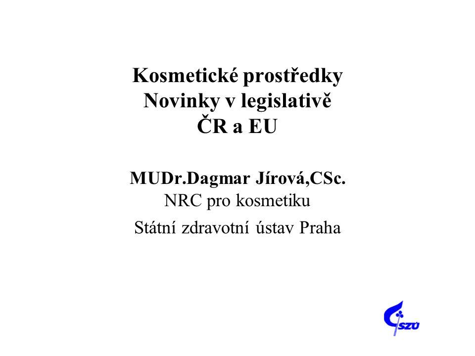 Kosmetické prostředky Novinky v legislativě ČR a EU MUDr