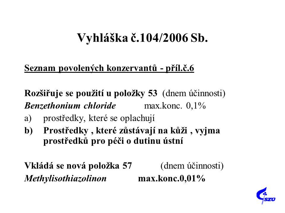 Vyhláška č.104/2006 Sb. Seznam povolených konzervantů - příl.č.6