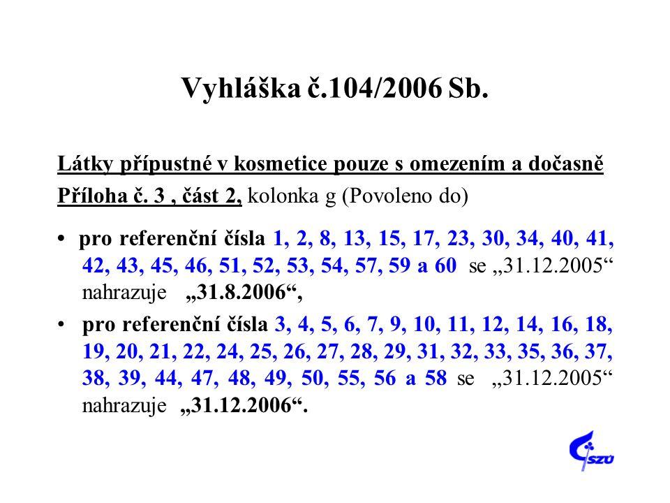 Vyhláška č.104/2006 Sb. Látky přípustné v kosmetice pouze s omezením a dočasně. Příloha č. 3 , část 2, kolonka g (Povoleno do)