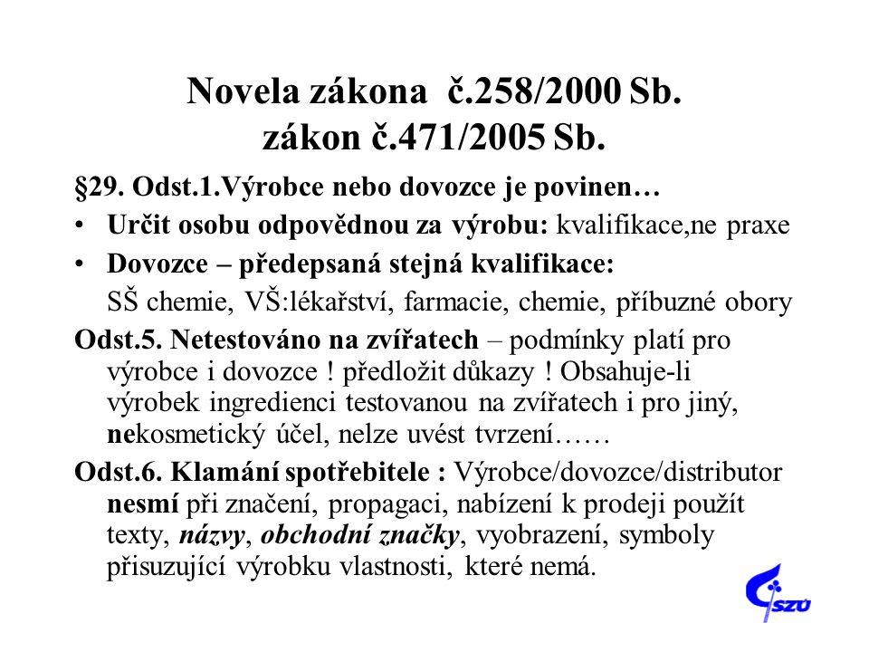 Novela zákona č.258/2000 Sb. zákon č.471/2005 Sb.