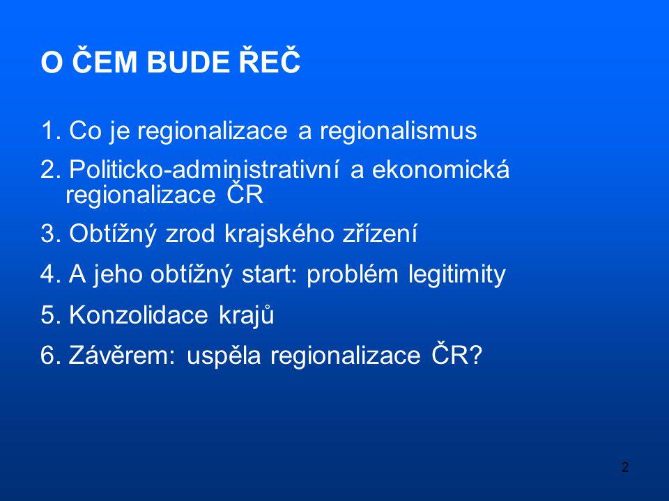 O ČEM BUDE ŘEČ 1. Co je regionalizace a regionalismus