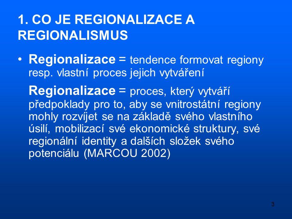 1. CO JE REGIONALIZACE A REGIONALISMUS