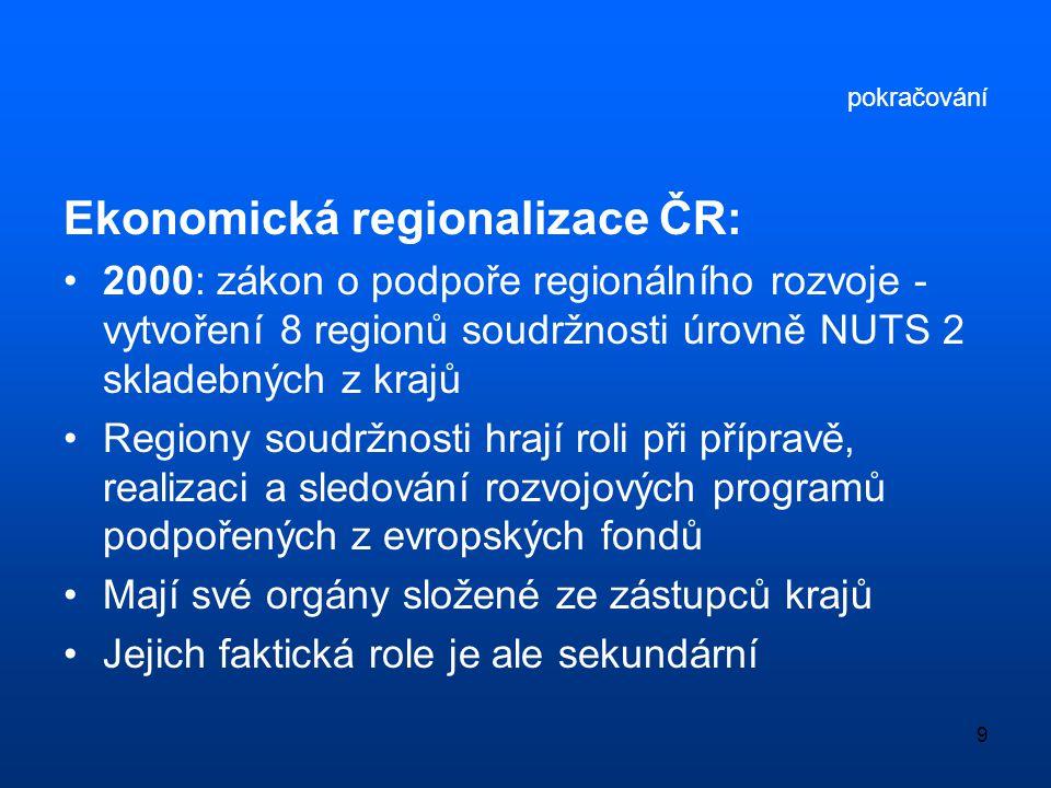 Ekonomická regionalizace ČR: