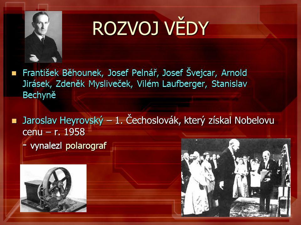 ROZVOJ VĚDY František Běhounek, Josef Pelnář, Josef Švejcar, Arnold Jirásek, Zdeněk Mysliveček, Vilém Laufberger, Stanislav Bechyně.