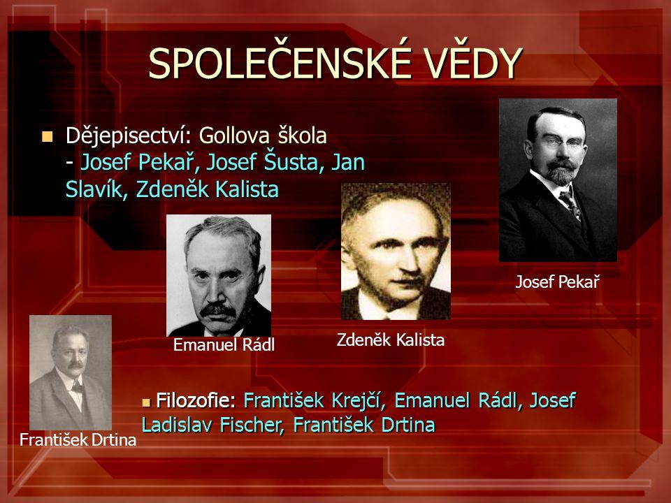 SPOLEČENSKÉ VĚDY Josef Pekař. Dějepisectví: Gollova škola - Josef Pekař, Josef Šusta, Jan Slavík, Zdeněk Kalista.