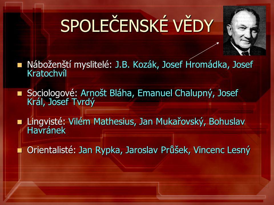 SPOLEČENSKÉ VĚDY Náboženští myslitelé: J.B. Kozák, Josef Hromádka, Josef Kratochvíl.
