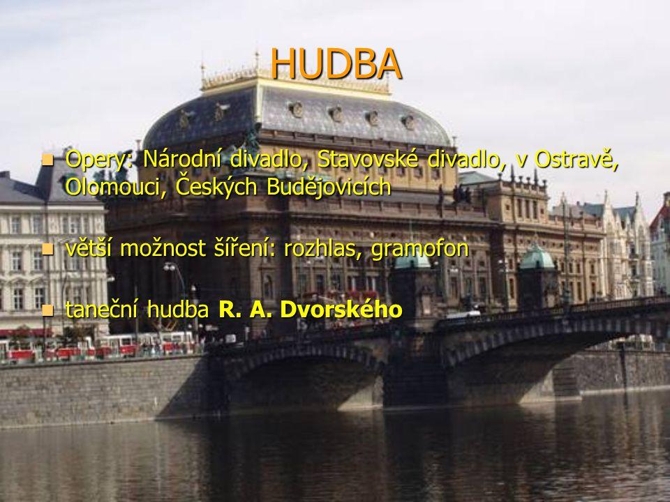 HUDBA Opery: Národní divadlo, Stavovské divadlo, v Ostravě, Olomouci, Českých Budějovicích. větší možnost šíření: rozhlas, gramofon.