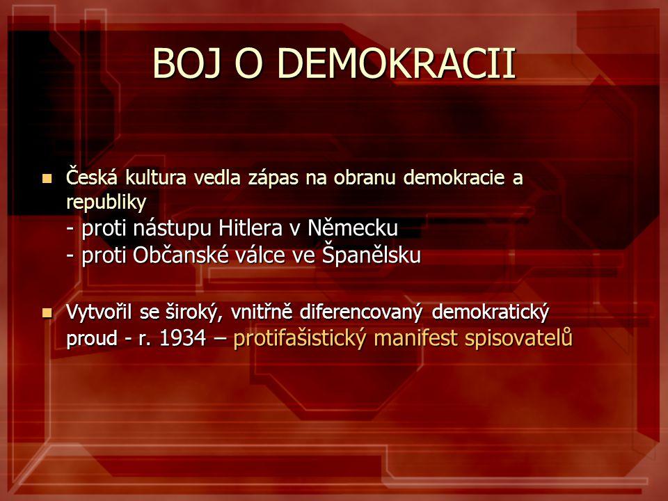BOJ O DEMOKRACII Česká kultura vedla zápas na obranu demokracie a republiky - proti nástupu Hitlera v Německu - proti Občanské válce ve Španělsku.