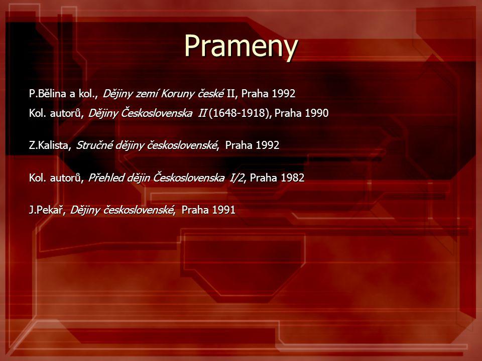 Prameny P.Bělina a kol., Dějiny zemí Koruny české II, Praha 1992