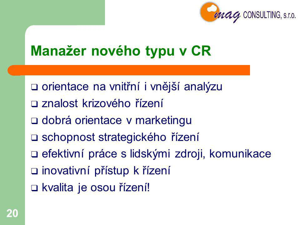 Manažer nového typu v CR