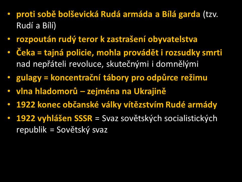 proti sobě bolševická Rudá armáda a Bílá garda (tzv. Rudí a Bílí)