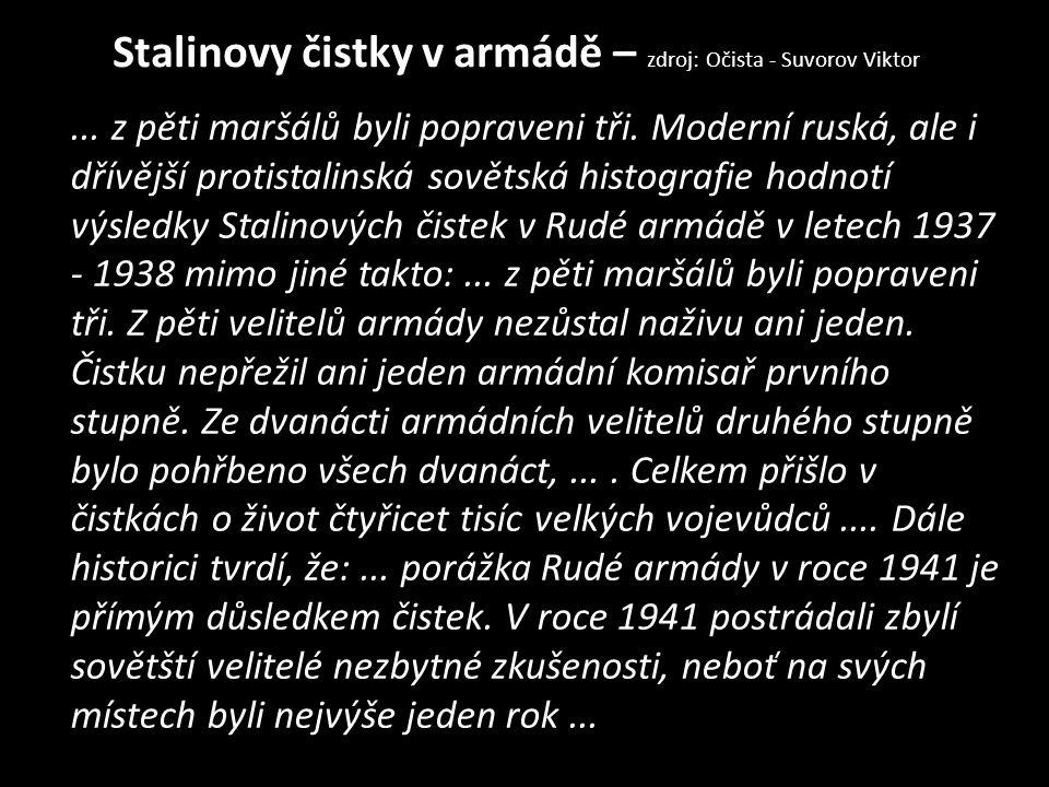 Stalinovy čistky v armádě – zdroj: Očista - Suvorov Viktor