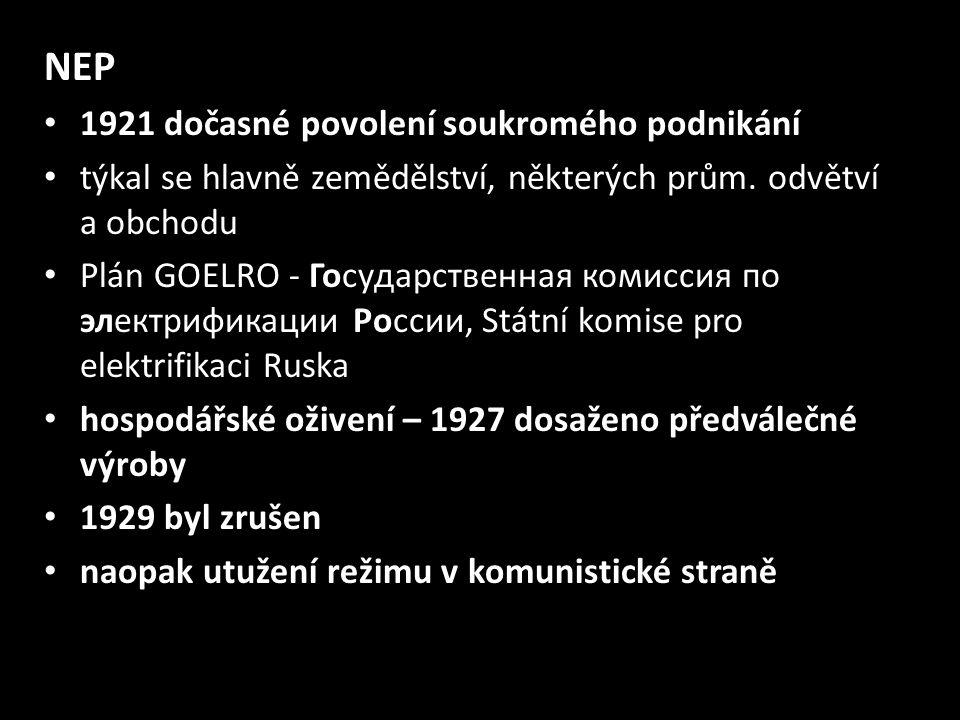 NEP 1921 dočasné povolení soukromého podnikání