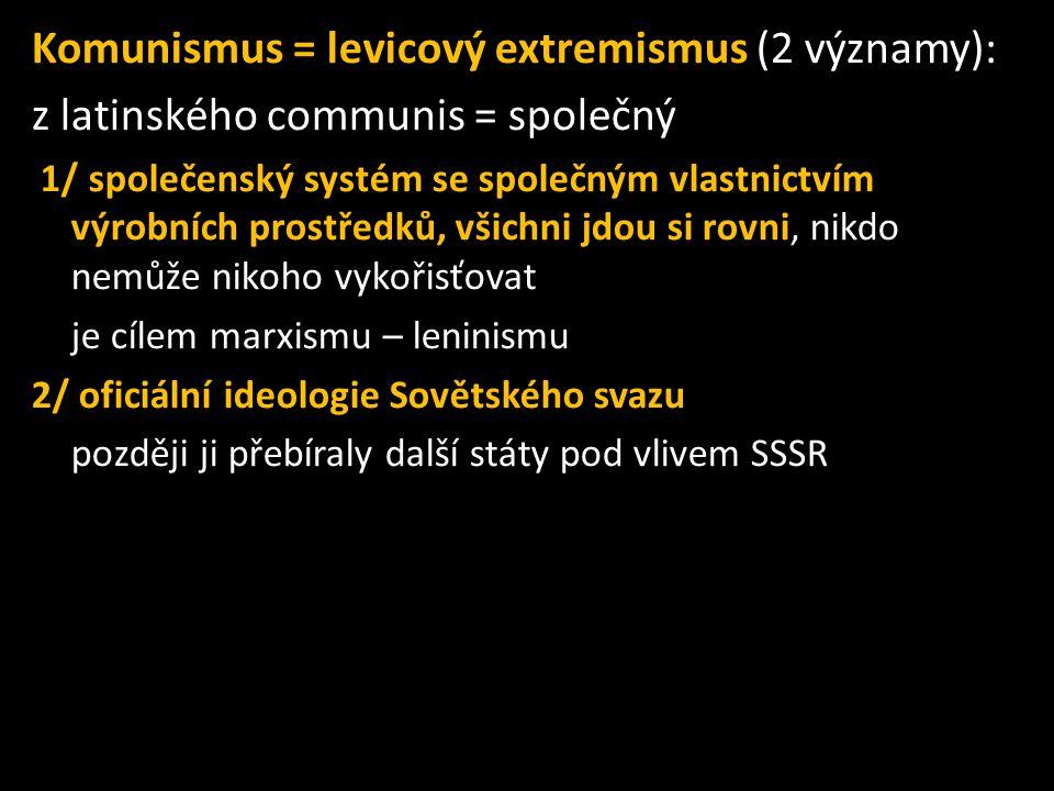 Komunismus = levicový extremismus (2 významy):