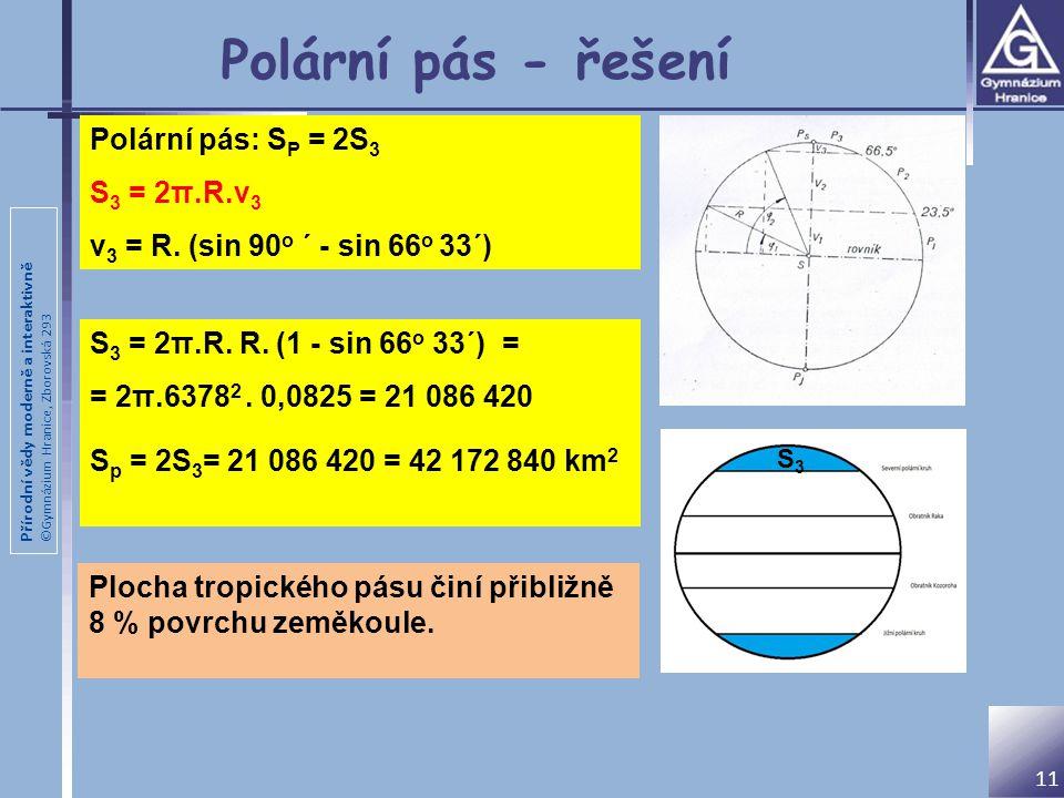 Polární pás - řešení Polární pás: SP = 2S3 S3 = 2π.R.v3