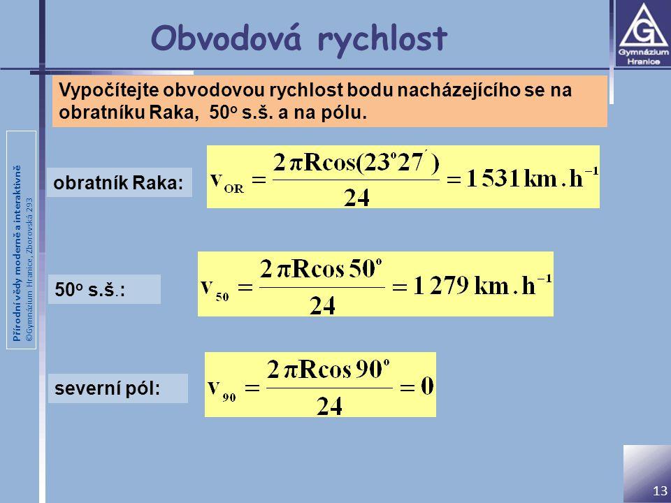 Obvodová rychlost Vypočítejte obvodovou rychlost bodu nacházejícího se na obratníku Raka, 50o s.š. a na pólu.