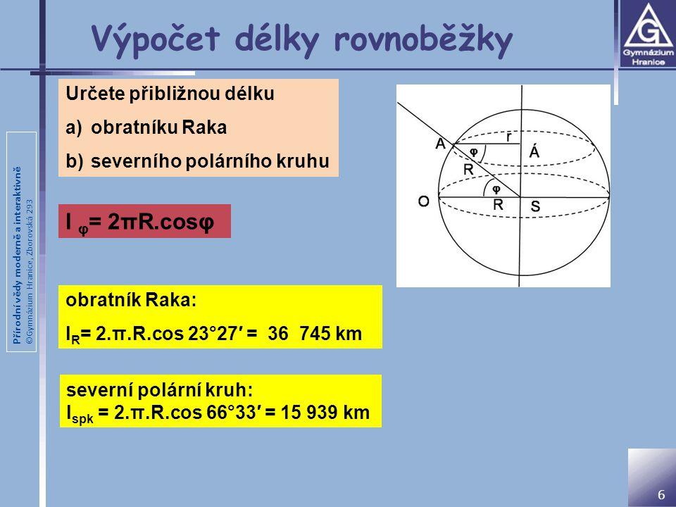 Výpočet délky rovnoběžky