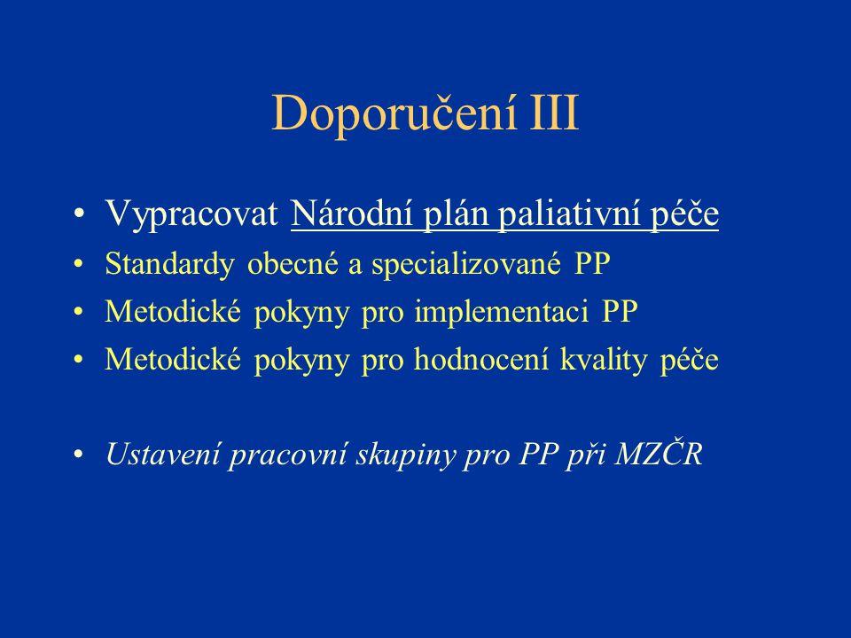 Doporučení III Vypracovat Národní plán paliativní péče