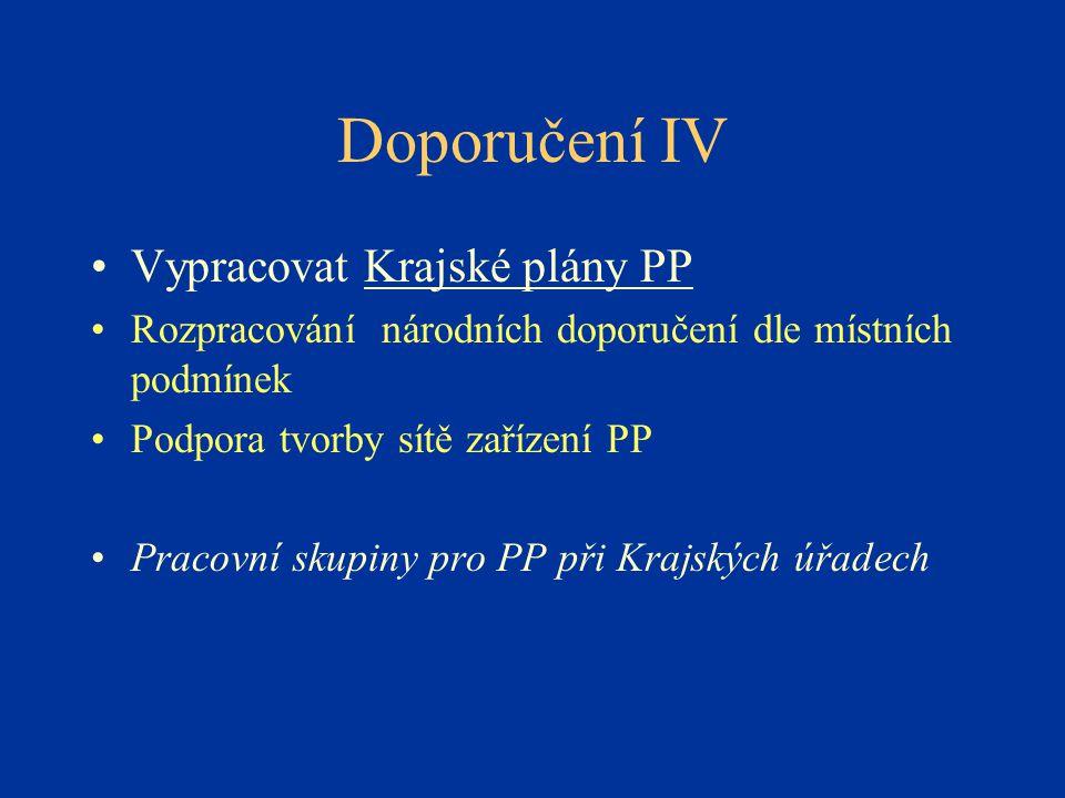 Doporučení IV Vypracovat Krajské plány PP