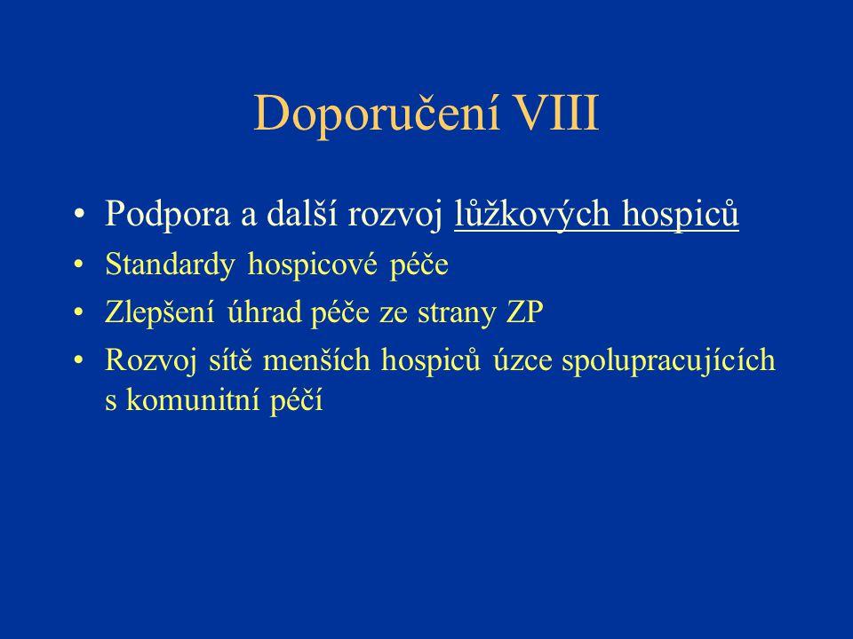 Doporučení VIII Podpora a další rozvoj lůžkových hospiců
