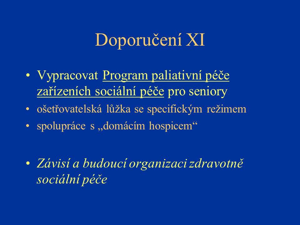 Doporučení XI Vypracovat Program paliativní péče zařízeních sociální péče pro seniory. ošetřovatelská lůžka se specifickým režimem.