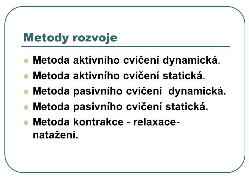 Metody rozvoje Metoda aktivního cvičení dynamická.