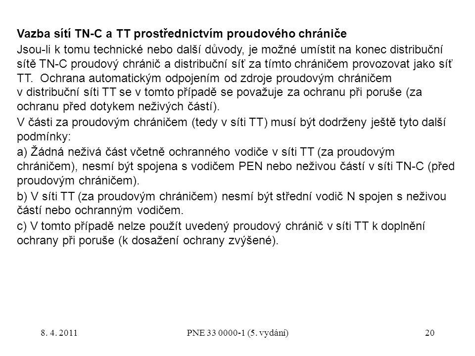 Vazba sítí TN-C a TT prostřednictvím proudového chrániče