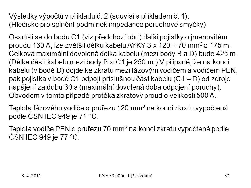 Výsledky výpočtů v příkladu č. 2 (souvisí s příkladem č