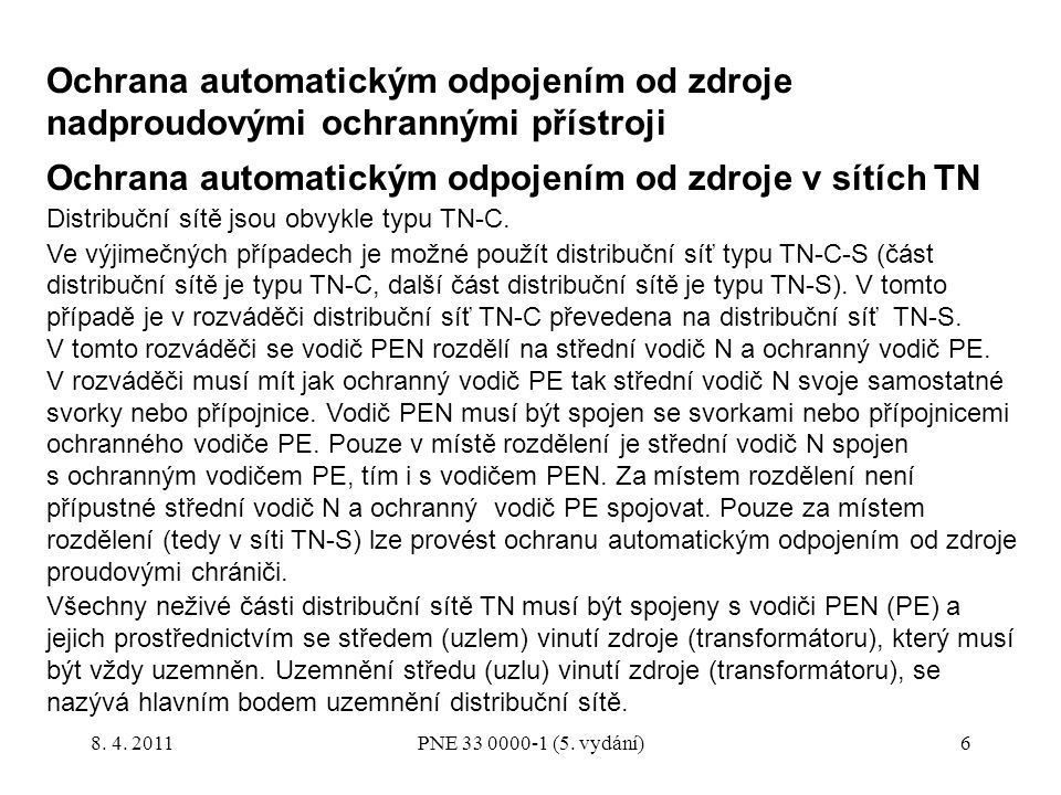 Ochrana automatickým odpojením od zdroje v sítích TN