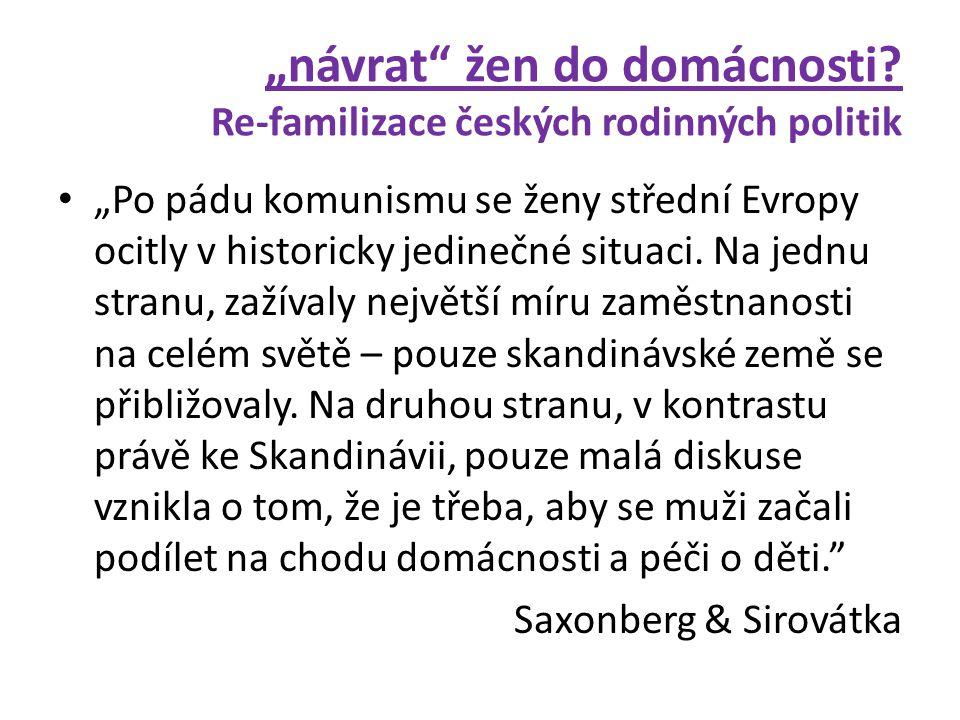 """""""návrat žen do domácnosti Re-familizace českých rodinných politik"""