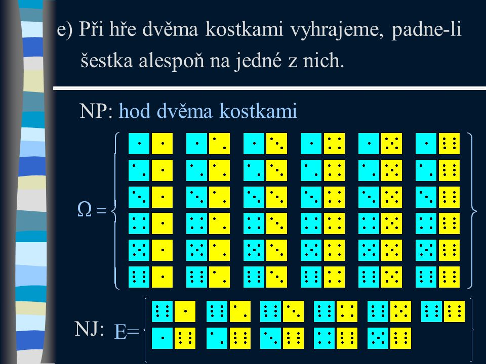 e) Při hře dvěma kostkami vyhrajeme, padne-li šestka alespoň na jedné z nich.