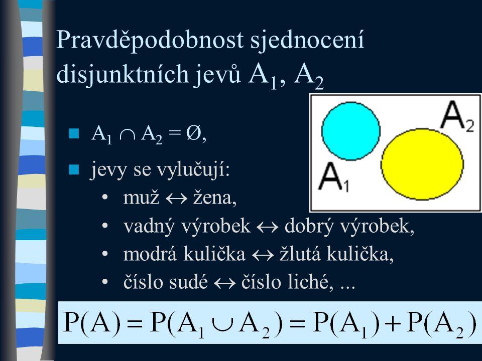 Pravděpodobnost sjednocení disjunktních jevů A1, A2