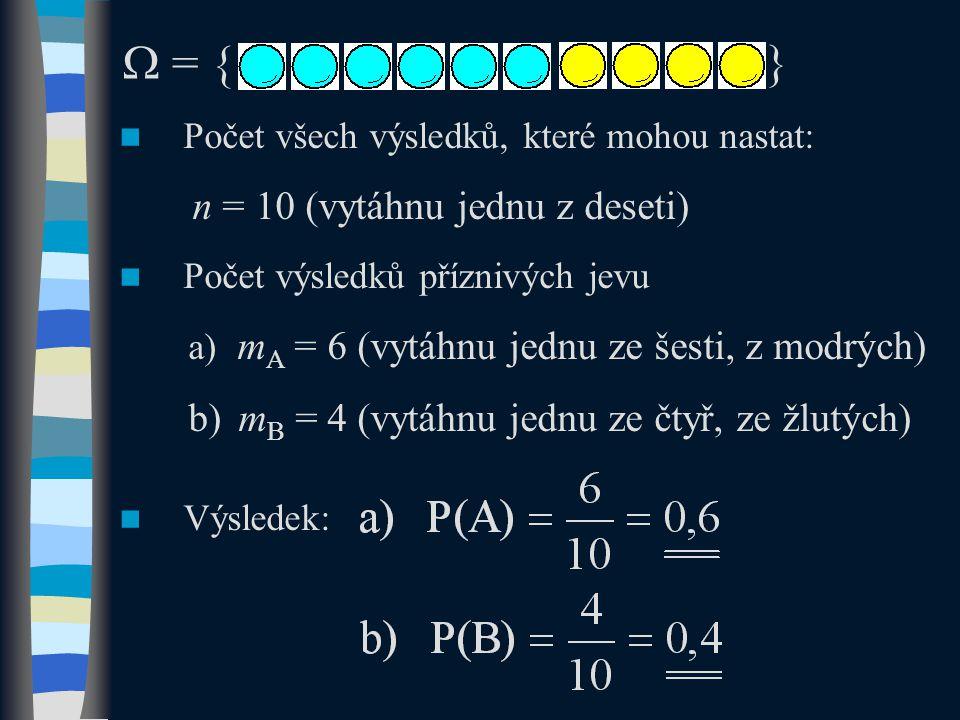  = { } mB = 4 (vytáhnu jednu ze čtyř, ze žlutých)