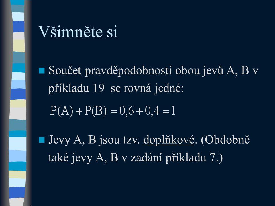 Všimněte si Součet pravděpodobností obou jevů A, B v příkladu 19 se rovná jedné: