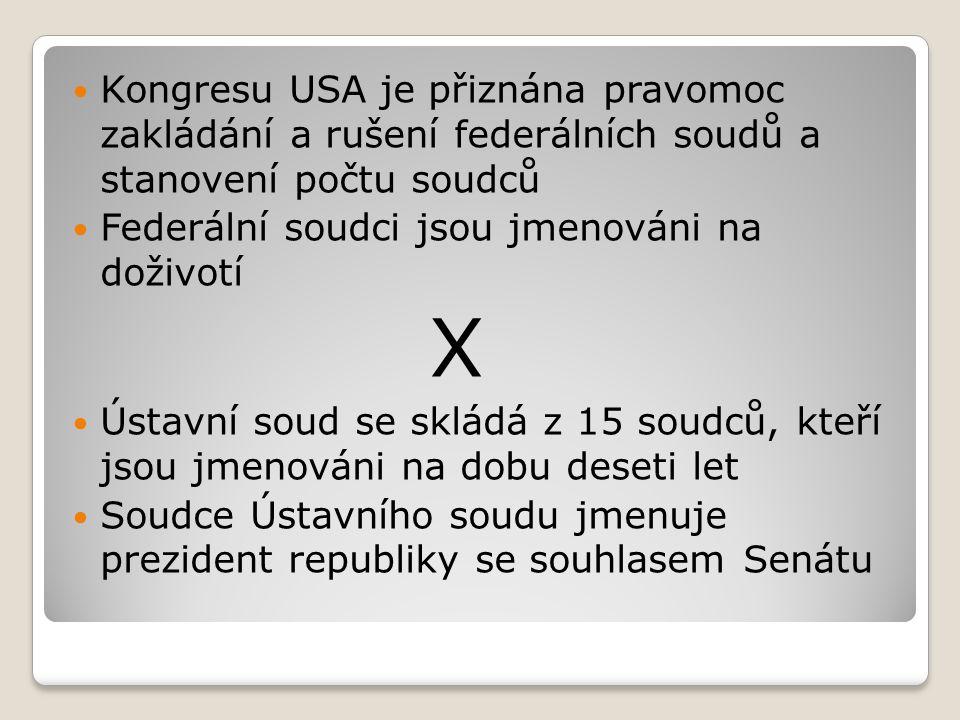 Kongresu USA je přiznána pravomoc zakládání a rušení federálních soudů a stanovení počtu soudců