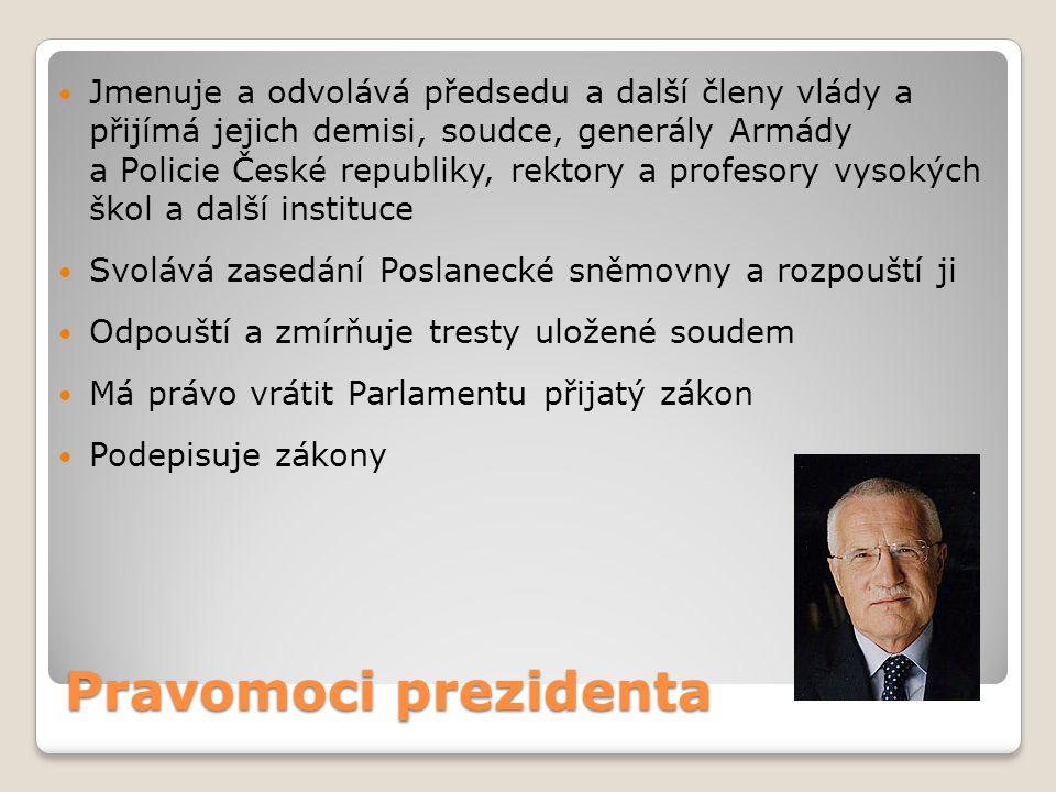 Jmenuje a odvolává předsedu a další členy vlády a přijímá jejich demisi, soudce, generály Armády a Policie České republiky, rektory a profesory vysokých škol a další instituce