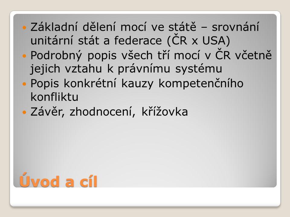 Základní dělení mocí ve státě – srovnání unitární stát a federace (ČR x USA)