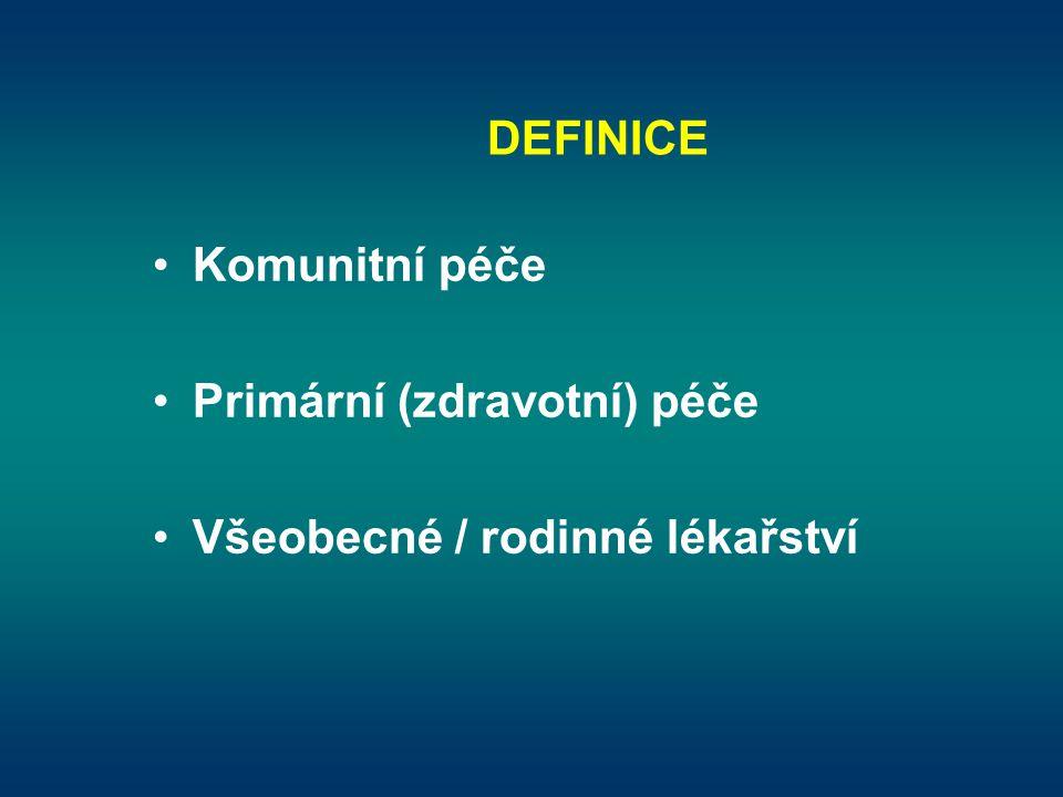 DEFINICE Komunitní péče Primární (zdravotní) péče Všeobecné / rodinné lékařství