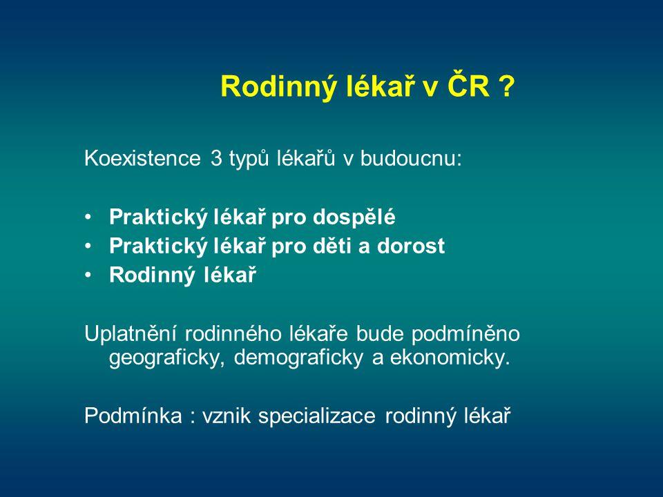 Rodinný lékař v ČR Koexistence 3 typů lékařů v budoucnu: