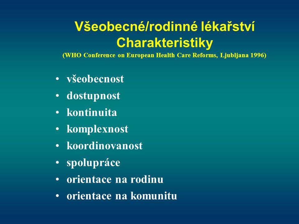 Všeobecné/rodinné lékařství Charakteristiky (WHO Conference on European Health Care Reforms, Ljubljana 1996)