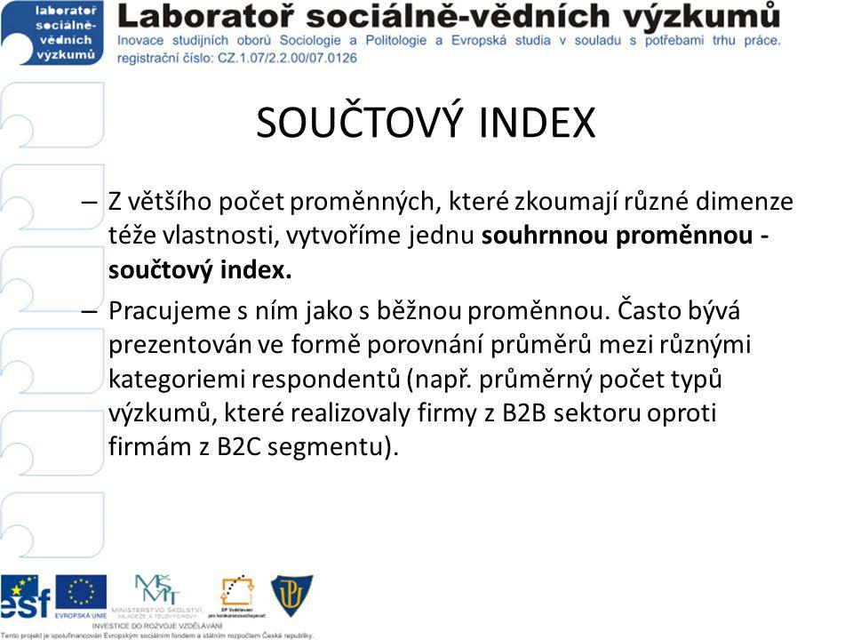 SOUČTOVÝ INDEX Z většího počet proměnných, které zkoumají různé dimenze téže vlastnosti, vytvoříme jednu souhrnnou proměnnou - součtový index.