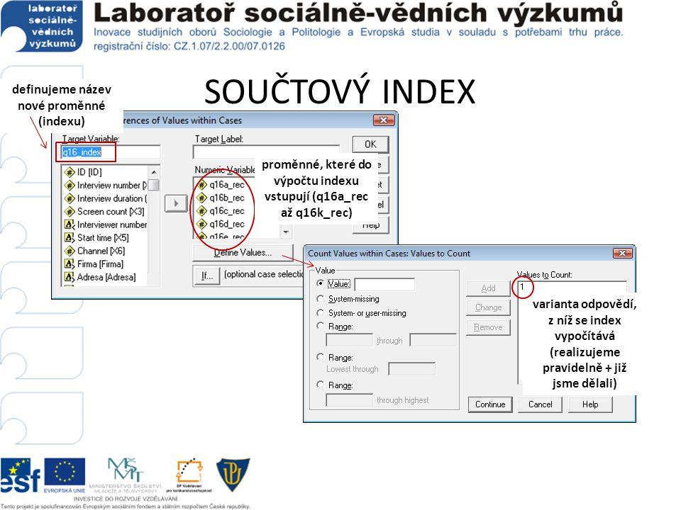 SOUČTOVÝ INDEX definujeme název nové proměnné (indexu)