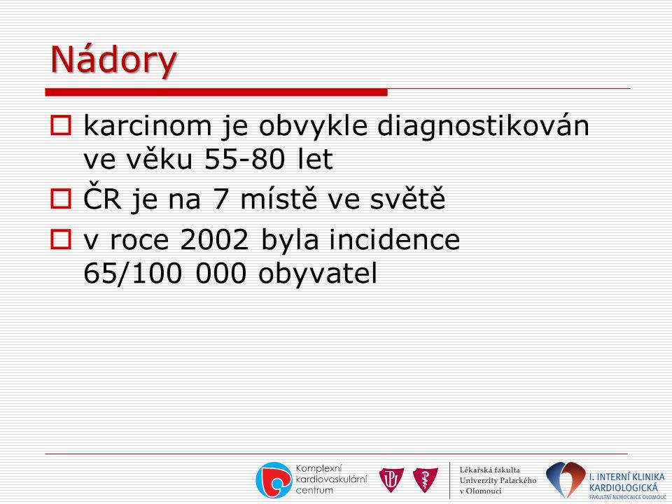 Nádory karcinom je obvykle diagnostikován ve věku 55-80 let