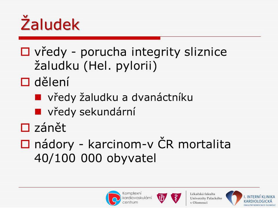 Žaludek vředy - porucha integrity sliznice žaludku (Hel. pylorii)