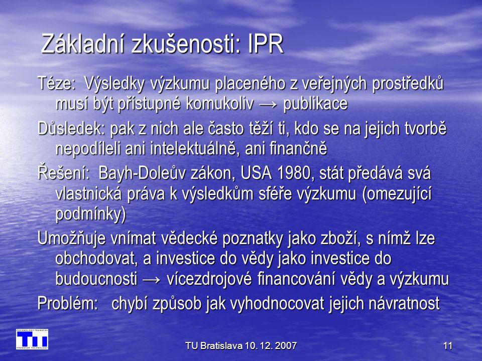 Základní zkušenosti: IPR
